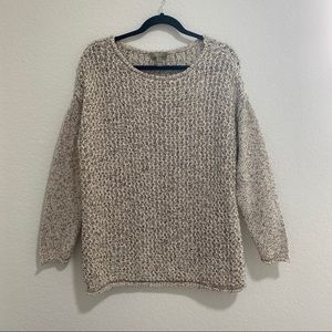 Naturals D&Co. Cable Knit Cotton Crew Neck Sweater Long Sleeve Size L